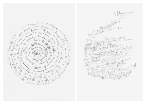 Left: Studio drawing (January) Right: on-site drawing (March) both from Castle Gardens